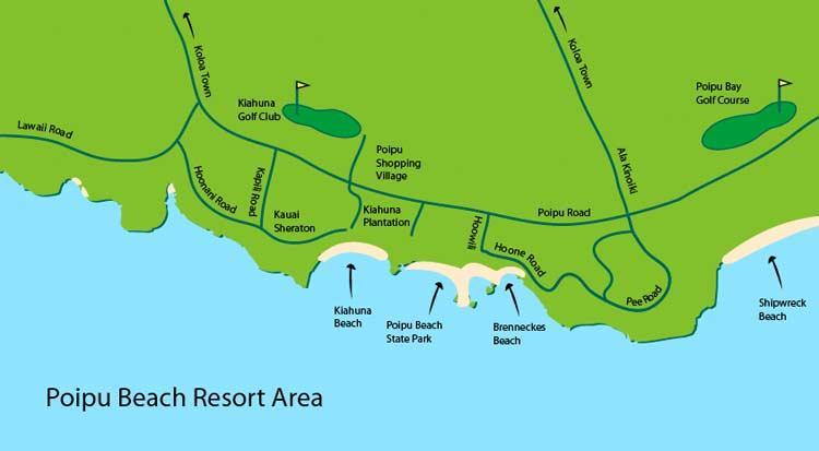 Poipu Beach Information : Area Map on
